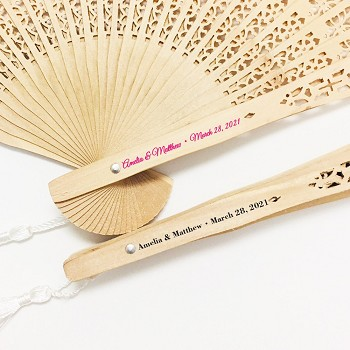 Personalized Wedding Fans - Sandalwood