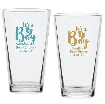 It's a Boy Personalized Beer Pint Glasses (16 oz)