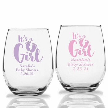 It's A Girl Personalized Stemless Wine Glasses (9 oz or 15 oz)