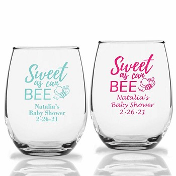 Sweet As Can Bee Personalized Stemless Wine Glasses (9 oz or 15 oz)