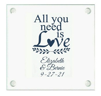 All You Need Is Love Personalized Wedding Coasters