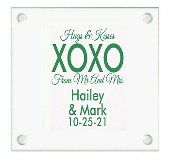 Hugs And Kisses XOXO Personalized Wedding Coasters