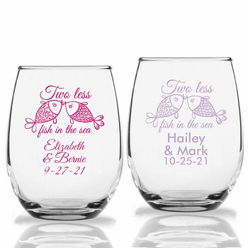 Two Less Fish In The Sea Personalized Stemless Wine Glasses (9 oz or 15 oz)