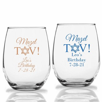 Mazel Tov Personalized Stemless Wine Glasses (9 oz or 15 oz)