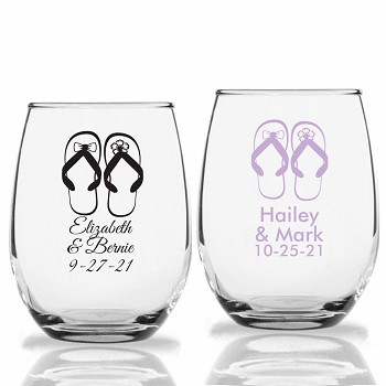 Flip Flop Personalized Stemless Wine Glasses (9 oz or 15 oz)