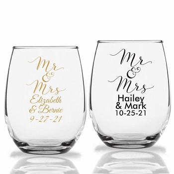 Mr. & Mrs. Personalized Stemless Wine Glasses (9 oz or 15 oz)