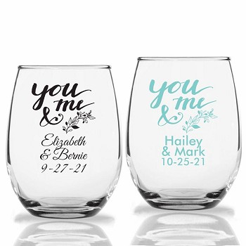 You & Me Personalized Stemless Wine Glasses (9 oz or 15 oz)