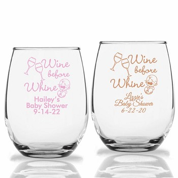 Wine Before Whine Personalized Stemless Wine Glasses (9 oz or 15 oz)