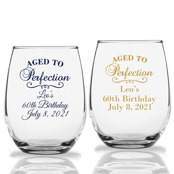 Aged To Perfection Personalized Stemless Wine Glass (9 oz or 15 oz)