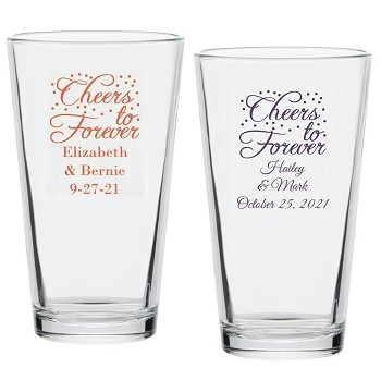 Cheers To Forever Personalized Pint Glass (16 oz)