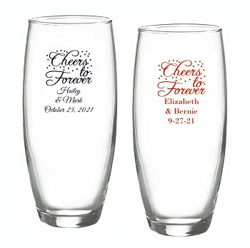 Cheers To Forever Personalized Stemless Champagne Glasses (9 oz)