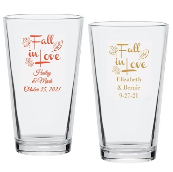 Fall In Love Personalized Pint Glass (16 oz)