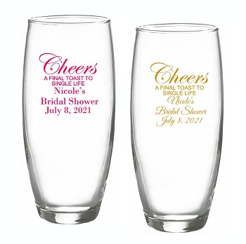 Cheers A Final Toast To Single Life Stemless Champagne Glasses (9 oz)