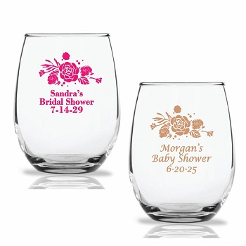 Floral Bouquet Personalized Stemless Wine Glasses (9 oz or 15 oz)