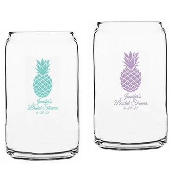 Personalized 16 OZ. Can Glass - Pineapples