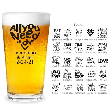 Popular Personalized Wedding Pint Glasses (16 oz)