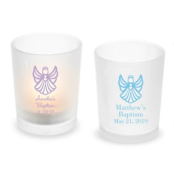 Angel Wings Personalized Frosted Glass Votive