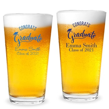 Congrats Graduate Personalized 16 oz Pint Glass