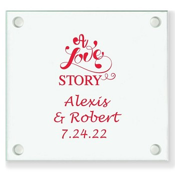 A Love Story Personalized Wedding Coasters