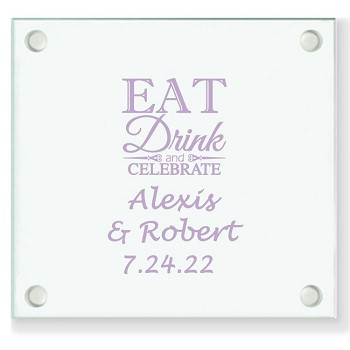 Eat Drink & Celebrate Personalized Wedding Coasters