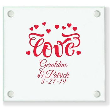 Love Hearts Personalized Wedding Coasters