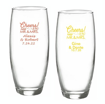 Cheers To the New Mr. and Mrs. Personalized Stemless Champagne Glasses (9 oz)
