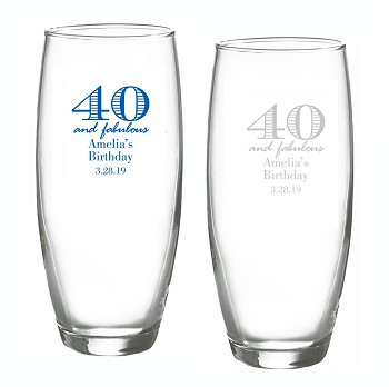 40 and Fabulous Stemless Champagne Glasses (9 oz)
