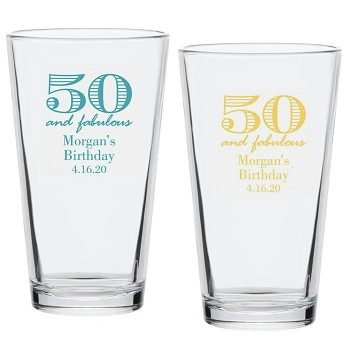 50 And Fabulous Birthday Pint Glass (16 oz)