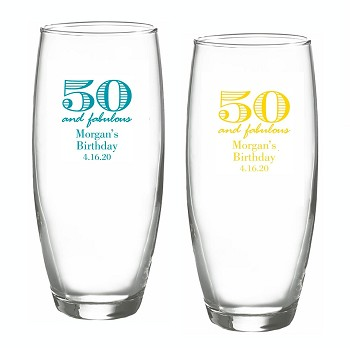 50 and Fabulous Stemless Champagne Glasses (9 oz)