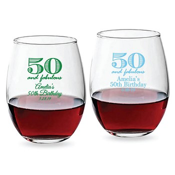 50 and Fabulous Personalized Stemless Wine Glass (9 oz or 15 oz)