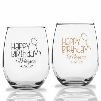 Happy Birthday Stemless Wine Glasses (9 oz or 15 oz)