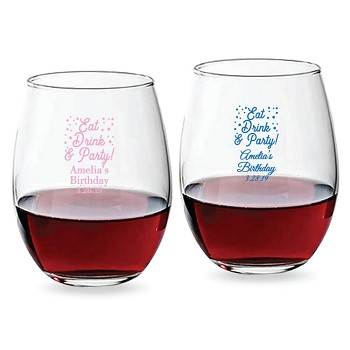 Eat Drink and Party Personalized Stemless Wine Glass (9 oz or 15 oz)