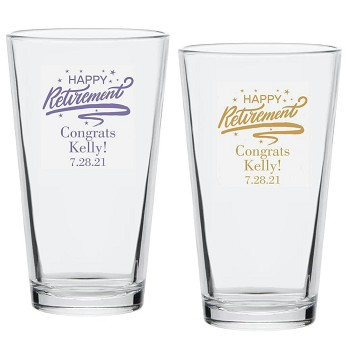 Happy Retirement Personalized Pint Glass (16 oz)