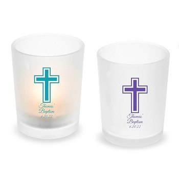 Cross Personalized Frosted Glass Votive & Tealight Candle Holder