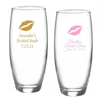 Kiss Lips Personalized Stemless Champagne Glasses (9 oz)