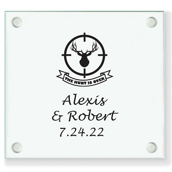 The Hunt Is Over Personalized Wedding Coasters