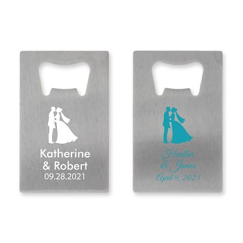 Bride & Groom Personalized Credit Card Bottle Opener