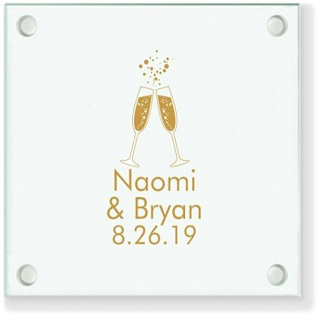 Champagne Toast Personalized Wedding Coasters