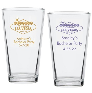 Vegas Sign Personalized Pint Glass (16 oz)