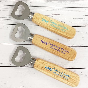 Love Lights Personalized Wood Handle Bottle Opener