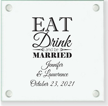 Eat Drink & Be Married Personalized Coaster Favor
