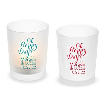 Oh Happy Day Personalized Frosted Glass Votive