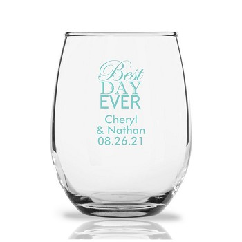 Best Day Ever Personalized Stemless Wine Glass (9 oz)