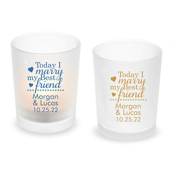 Today I Marry My Best Friend Personalized Frosted Glass Votive