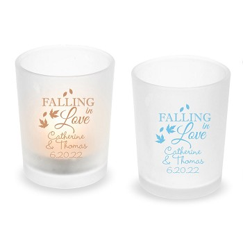 Falling In Love Personalized Frosted Glass Votive