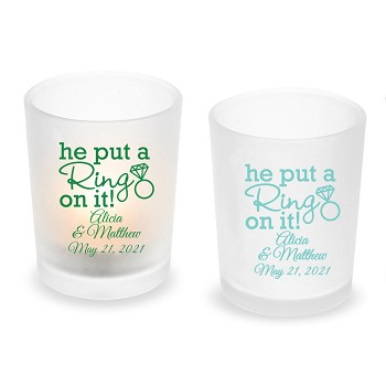 He Put A Ring On It Personalized Frosted Glass Votive