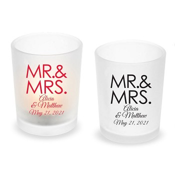 Mr. & Mrs. Block Personalized Frosted Glass Votive