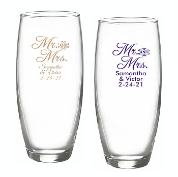 Mr. & Mrs. Scrip Personalized Stemless Champagne Glasses (9 oz)