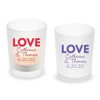 LOVE Personalized Frosted Glass Votive