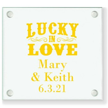 Lucky In Love Personalized Wedding Coasters